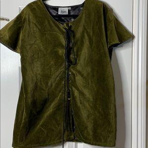 The Pirate Dressing Velvet Shirt w/ Tie Front